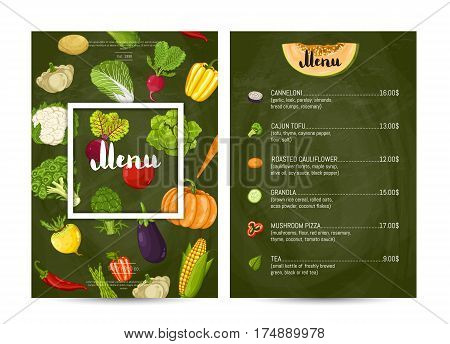 Vegetarian restaurant food menu design vector illustration. Vegan cafe, price catalog of vegetarian nutrition, organic food, healthy diet. Menu template with carrot, eggplant, cabbage, tomato, radish
