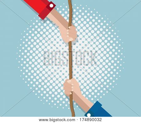 hand pulling rope with half tone background vector illustration