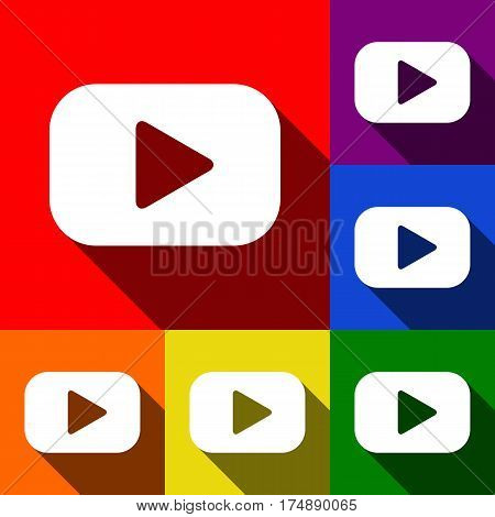 Play button sign. Vector. Set of icons with flat shadows at red, orange, yellow, green, blue and violet background.
