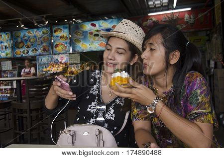 Travellers Thai Women Selfie With Mango Cheese Bingsu Or Shaved Ice Fruit And Whip Cream