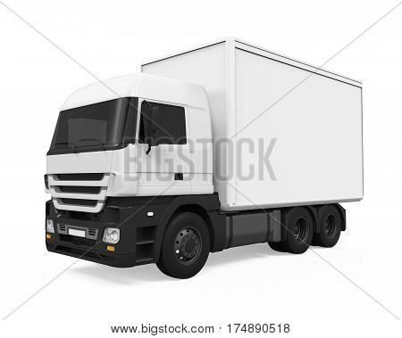 Cargo Delivery Truck isolated on white background. 3D render
