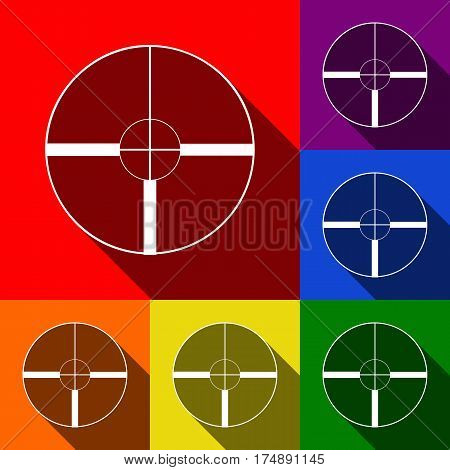 Sight sign illustration. Vector. Set of icons with flat shadows at red, orange, yellow, green, blue and violet background.