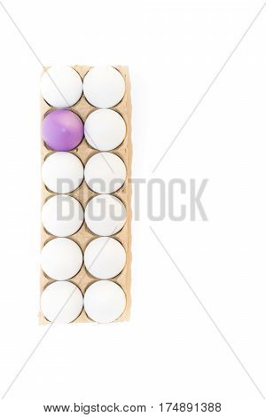 One Easter egg dyed lavender and eleven hard boiled white hen's eggs in a tan cardboard carton. Photographed from above with white background and copy space.