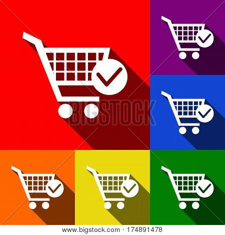 Shopping Cart with Check Mark sign. Vector. Set of icons with flat shadows at red, orange, yellow, green, blue and violet background.