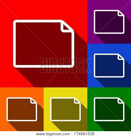 Horisontal document sign illustration. Vector. Set of icons with flat shadows at red, orange, yellow, green, blue and violet background.