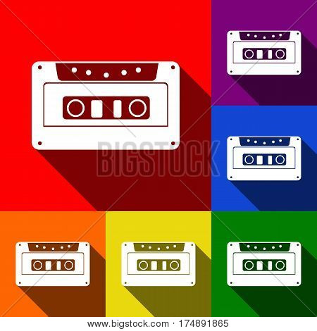 Cassette icon, audio tape sign. Vector. Set of icons with flat shadows at red, orange, yellow, green, blue and violet background.
