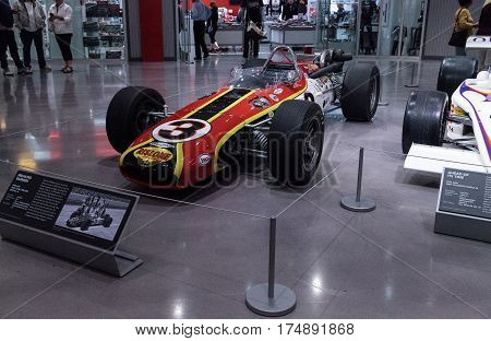 Los Angeles CA USA -- March 4 2017: Red black and yellow 1968 AAR Indy Eagle Rislone Special number 3 at the Petersen Automotive Museum in Los Angeles California United States. Editorial only.