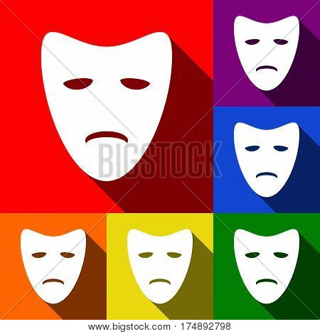 Tragedy theatrical masks. Vector. Set of icons with flat shadows at red, orange, yellow, green, blue and violet background.