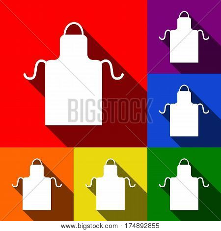 Apron simple sign. Vector. Set of icons with flat shadows at red, orange, yellow, green, blue and violet background.
