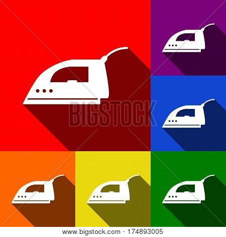 Smoothing Iron sign. Vector. Set of icons with flat shadows at red, orange, yellow, green, blue and violet background.