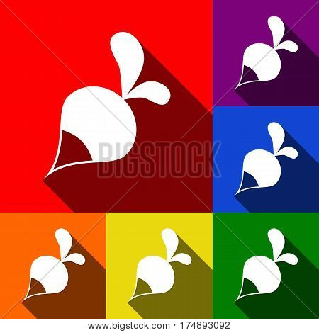 Radish simple sign. Vector. Set of icons with flat shadows at red, orange, yellow, green, blue and violet background.
