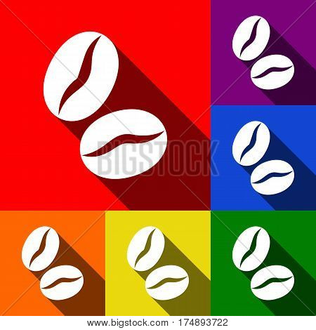 Coffee beans sign. Vector. Set of icons with flat shadows at red, orange, yellow, green, blue and violet background.
