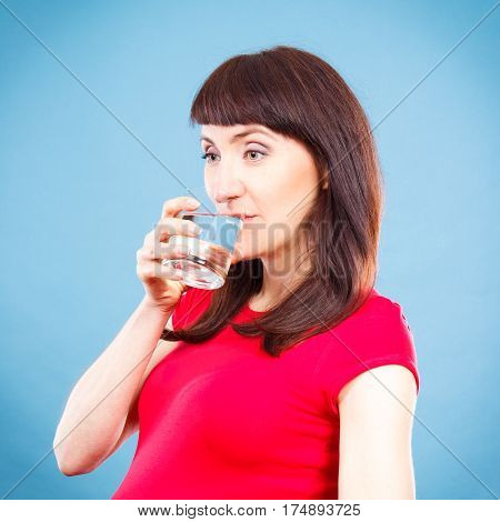 Smiling Woman Drinking Water From Glass, Healthy Lifestyle And Hydration Concept
