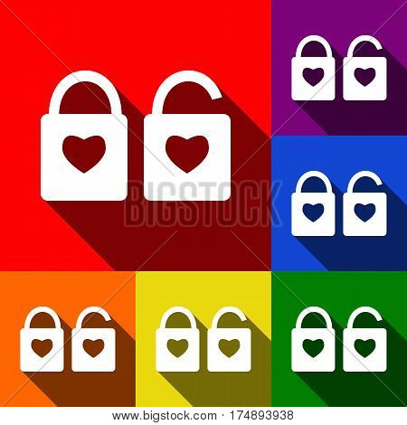 lock sign with heart shape. A simple silhouette of the lock. Shape of a heart. Vector. Set of icons with flat shadows at red, orange, yellow, green, blue and violet background.