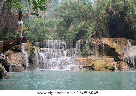 Traveller People Travel And Post Body For Take Photo With View Of Tat Kuang Si Waterfalls
