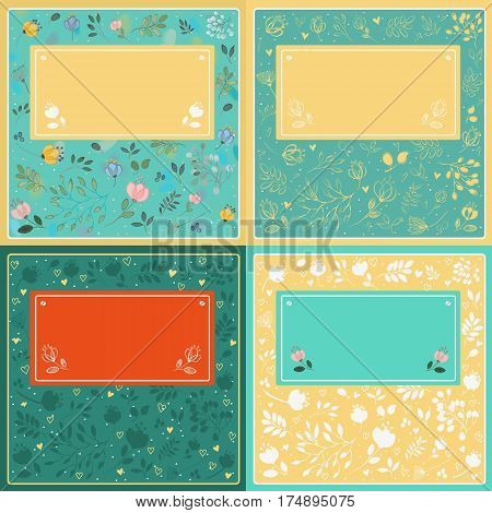 Floral cards with banners for custom text. Green card with watercolor flowers. Green card with yellow drawing flowers. Yellow card with white flowers.