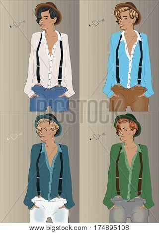Girls with colorful shirts and hats. Hipster look. illustration