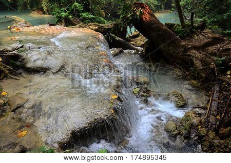 Motion Of Water At Kuang Si Falls In Luang Prabang, Laos