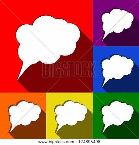 Speach bubble sign illustration. Vector. Set of icons with flat shadows at red, orange, yellow, green, blue and violet background.