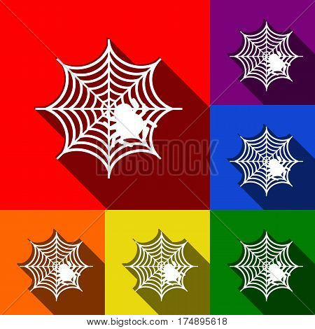 Spider on web illustration Vector. Set of icons with flat shadows at red, orange, yellow, green, blue and violet background.