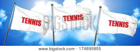 tennis sign background, 3D rendering, triple flags