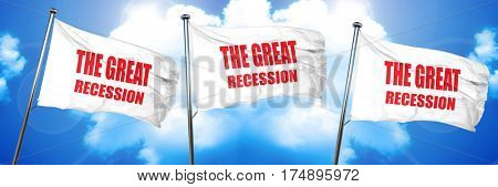 Recession sign background, 3D rendering, triple flags