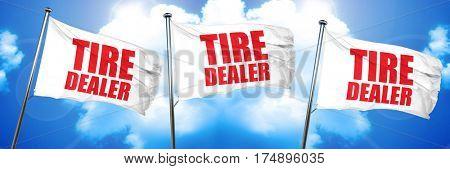 tire dealer, 3D rendering, triple flags
