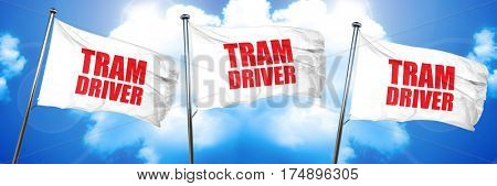 tram driver, 3D rendering, triple flags