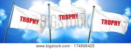 trophy, 3D rendering, triple flags