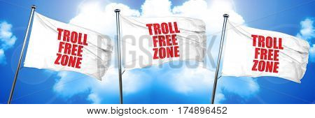 troll free zone, 3D rendering, triple flags