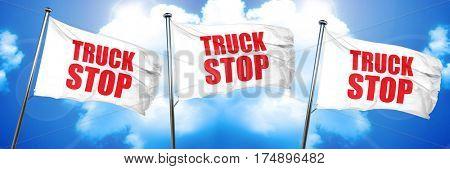 truck stop, 3D rendering, triple flags