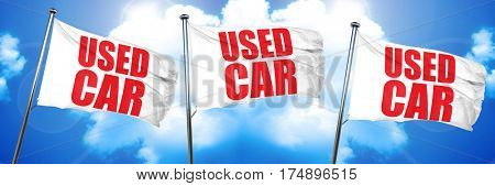 used car, 3D rendering, triple flags