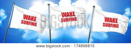 wake surfing sign background, 3D rendering, triple flags
