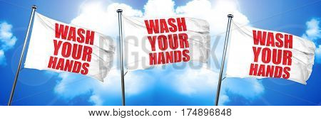 wash your hands, 3D rendering, triple flags