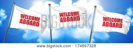 welcome aboard, 3D rendering, triple flags