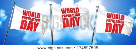 world population day, 3D rendering, triple flags
