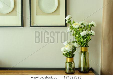 Modern Living room interior design with  flower in vase