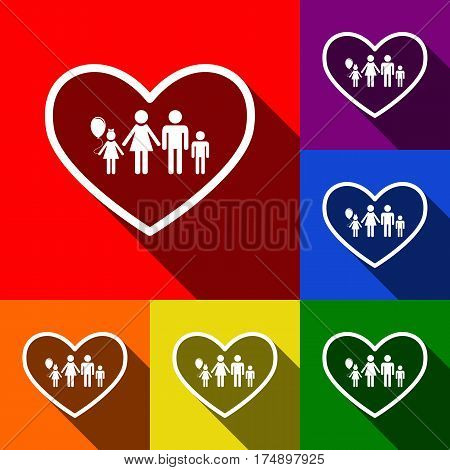 Family sign illustration in heart shape. Vector. Set of icons with flat shadows at red, orange, yellow, green, blue and violet background.