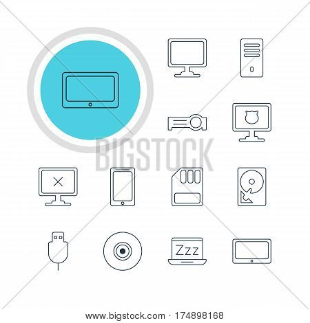 Vector Illustration Of 12 Computer Icons. Editable Pack Of Laptop, Tablet, Access Denied And Other Elements.