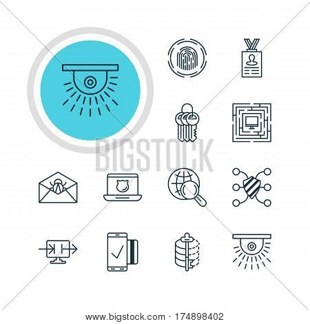 Vector Illustration Of 12 Web Safety Icons. Editable Pack Of Account Data, Finger Identifier, Key Collection And Other Elements.