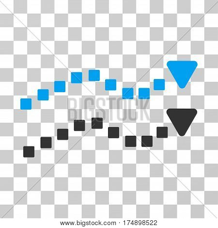 Dotted Trend Lines icon. Vector illustration style is flat iconic bicolor symbol blue and gray colors transparent background. Designed for web and software interfaces.