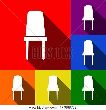 Office chair sign. Vector. Set of icons with flat shadows at red, orange, yellow, green, blue and violet background.