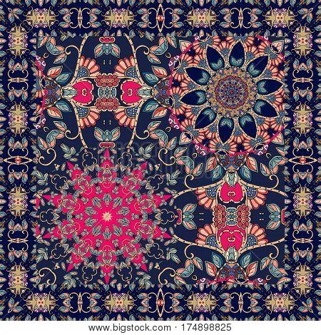 Bandana print with flowers - mandalas and ornamental frame.