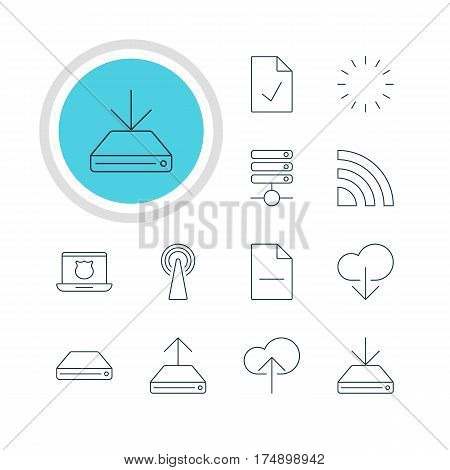 Vector Illustration Of 12 Internet Icons. Editable Pack Of Checked Note, Removing File, Cloud Download And Other Elements.