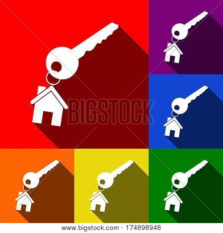 key with keychain as an house sign. Vector. Set of icons with flat shadows at red, orange, yellow, green, blue and violet background.