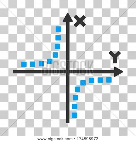 Hyperbola Plot icon. Vector illustration style is flat iconic bicolor symbol blue and gray colors transparent background. Designed for web and software interfaces.