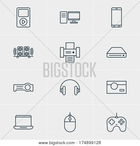 Vector Illustration Of 12 Hardware Icons. Editable Pack Of Media Controller, Computer, Photocopier And Other Elements.