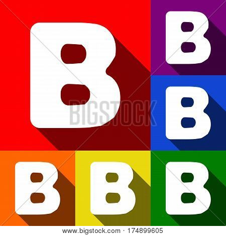 Letter B sign design template element. Vector. Set of icons with flat shadows at red, orange, yellow, green, blue and violet background.