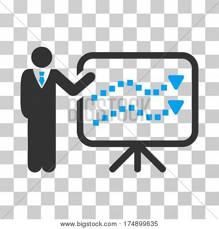 Trends Lecture icon. Vector illustration style is flat iconic bicolor symbol blue and gray colors transparent background. Designed for web and software interfaces.