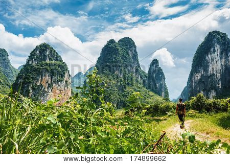 The karst mountains and rural scenery in summmer